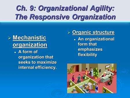 Ch. 9: Organizational Agility: The Responsive Organization  Mechanistic organization A form of organization that seeks to maximize internal efficiency.