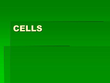CELLS. CELLS CELL:  Smallest unit of an organism that carries on life functions.
