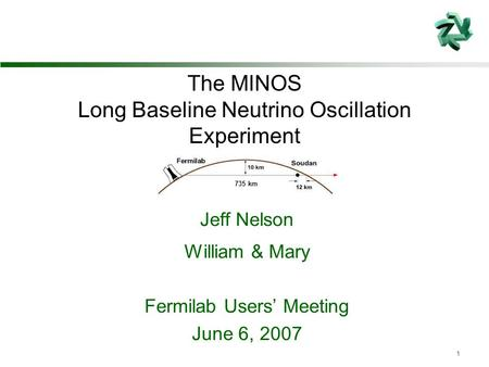 1 735 km The MINOS Long Baseline Neutrino Oscillation Experiment Jeff Nelson William & Mary Fermilab Users' Meeting June 6, 2007.