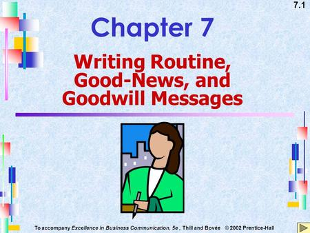 7.1 To accompany Excellence in Business Communication, 5e, Thill and Bovée © 2002 Prentice-Hall Chapter 7 Writing Routine, Good-News, and Goodwill Messages.