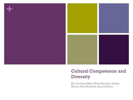 + Cultural Competence and Diversity By: Courtney Bass, Eliza Creedon, Jordan Helton, Roni Houston, Aurora Salter.