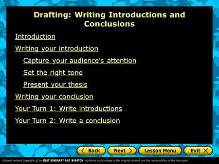 Guide to Writing Introductions and Conclusions