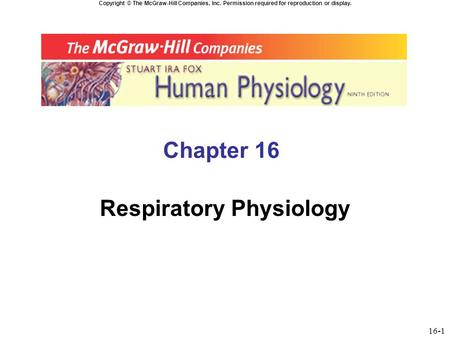 Copyright © The McGraw-Hill Companies, Inc. Permission required for reproduction or display. Chapter 16 Respiratory Physiology 16-1.
