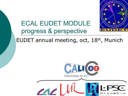 ECAL EUDET MODULE progress & perspective EUDET annual meeting, oct, 18 st, Munich.