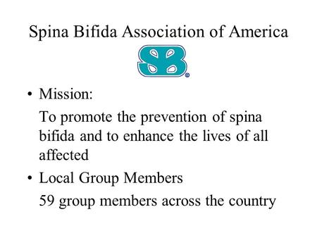 Spina Bifida Association of America Mission: To promote the prevention of spina bifida and to enhance the lives of all affected Local Group Members 59.
