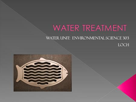 Water Unit: ENVIRONMENTAL SCIENCE 303 LOCH.