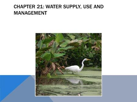 CHAPTER 21: WATER SUPPLY, USE AND MANAGEMENT. WATER To understand water, we must understand its characteristics, and roles:  Water has a high capacity.
