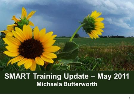 1 SMART Training Update – May 2011 Michaela Butterworth.