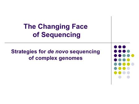 The Changing Face of Sequencing Strategies for de novo sequencing of complex genomes.