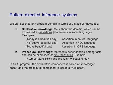 Pattern-directed inference systems We can describe any problem domain in terms of 2 types of knowledge: 1.Declarative knowledge: facts about the domain,