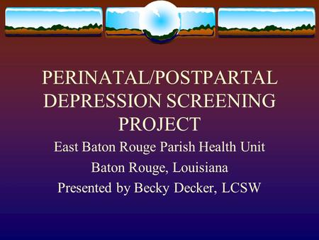 PERINATAL/POSTPARTAL DEPRESSION SCREENING PROJECT East Baton Rouge Parish Health Unit Baton Rouge, Louisiana Presented by Becky Decker, LCSW.