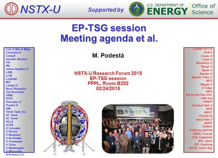EP-TSG session Meeting agenda et al. M. Podestà NSTX-U Research Forum 2015 EP-TSG session PPPL, Room B252 02/24/2015 NSTX-U Supported by Culham Sci Ctr.