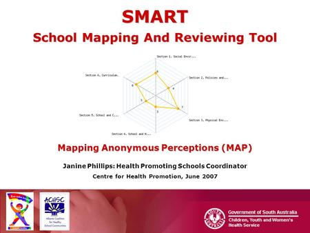SMART School Mapping And Reviewing Tool Mapping Anonymous Perceptions (MAP) Janine Phillips: Health Promoting Schools Coordinator Centre for Health Promotion,