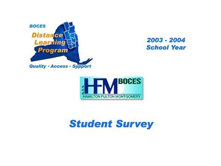 .. HFM Distance Learning Project Student Survey 2003 – 2004 School Year BOCES Distance Learning Program Quality Access Support.
