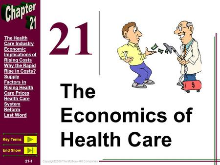 Copyright 2008 The McGraw-Hill Companies 21-1 The Health Care Industry Economic Implications of Rising Costs Why the Rapid Rise in Costs? Supply Factors.
