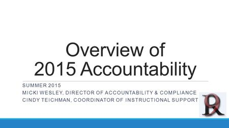 Overview of 2015 Accountability SUMMER 2015 MICKI WESLEY, DIRECTOR OF ACCOUNTABILITY & COMPLIANCE CINDY TEICHMAN, COORDINATOR OF INSTRUCTIONAL SUPPORT.