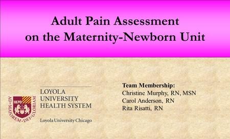 Adult Pain Assessment on the Maternity-Newborn Unit Team Membership: Christine Murphy, RN, MSN Carol Anderson, RN Rita Risatti, RN.