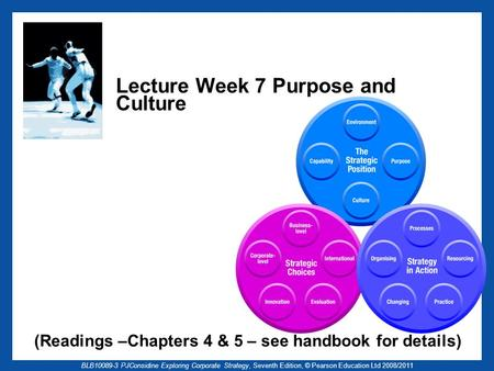 BLB10089-3 PJConsidine Exploring Corporate Strategy, Seventh Edition, © Pearson Education Ltd 2008/2011 Lecture Week 7 Purpose and Culture (Readings –Chapters.