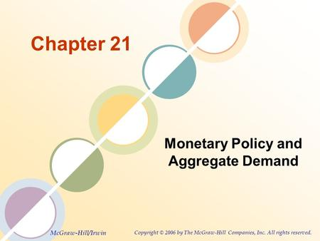 McGraw-Hill/Irwin Copyright © 2006 by The McGraw-Hill Companies, Inc. All rights reserved. Chapter 21 Monetary Policy and Aggregate Demand.