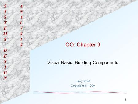 SYSTEMSDESIGNANALYSIS 1 OO: Chapter 9 Visual Basic: Building Components Jerry Post Copyright © 1999.
