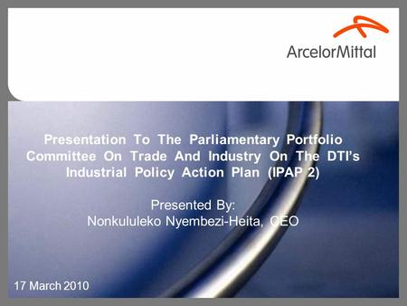 Presentation To The Parliamentary Portfolio Committee On Trade And Industry On The DTI's Industrial Policy Action Plan (IPAP 2) Presented By: Nonkululeko.