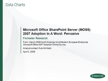 Microsoft Office SharePoint Server (MOSS) 2007 Adoption In A Word: Pervasive Forrester Research From: March 2008 North American And Western European Enterprise.