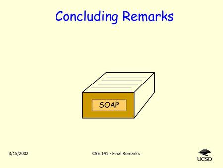 3/15/2002CSE 141 - Final Remarks Concluding Remarks SOAP.