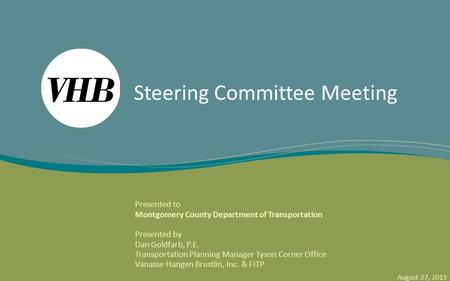 Montgomery County Rapid Transit System (RTS) Service Planning and System Integration Study Steering Committee Meeting Presented to Montgomery County Department.