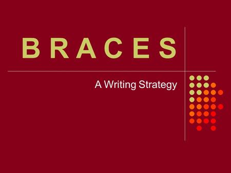 B R A C E S A Writing Strategy.