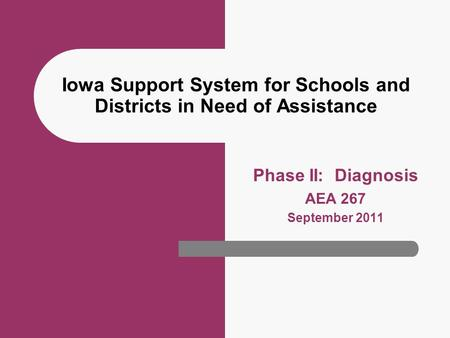 Iowa Support System for Schools and Districts in Need of Assistance Phase II: Diagnosis AEA 267 September 2011.