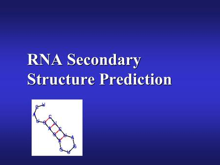 RNA Secondary Structure Prediction. 16s rRNA RNA Secondary Structure Hairpin loop Junction (Multiloop)Bulge Single- Stranded Interior Loop Stem Image–