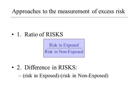 Approaches to the measurement of excess risk 1. Ratio of RISKS 2. Difference in RISKS: –(risk in Exposed)-(risk in Non-Exposed) Risk in Exposed Risk in.