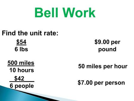 Bell Work Find the unit rate: $54 6 lbs 500 miles 10 hours $42___ 6 people $9.00 per pound 50 miles per hour $7.00 per person.