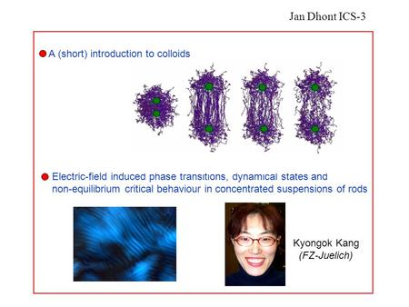Kyongok Kang (FZ-Juelich) A (short) introduction to colloids Electric-field induced phase transitions, dynamical states and non-equilibrium critical behaviour.