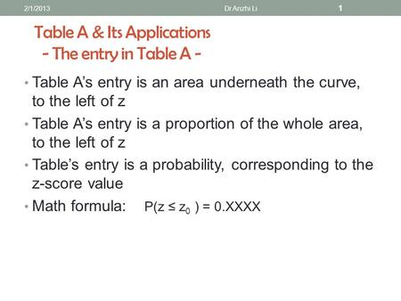 Table A & Its Applications - The entry in Table A - Table A's entry is an area underneath the curve, to the left of z Table A's entry is a proportion of.