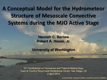 A Conceptual Model for the Hydrometeor Structure of Mesoscale Convective Systems during the MJO Active Stage Hannah C. Barnes Robert A. Houze, Jr. University.