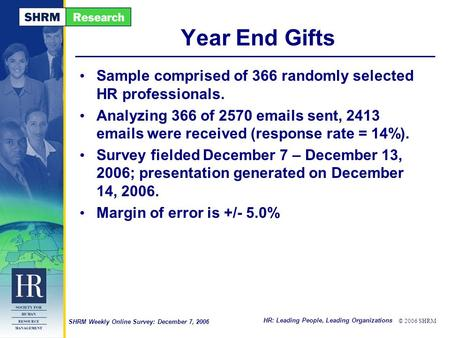 HR: Leading People, Leading Organizations © 2006 SHRM SHRM Weekly Online Survey: December 7, 2006 Year End Gifts Sample comprised of 366 randomly selected.