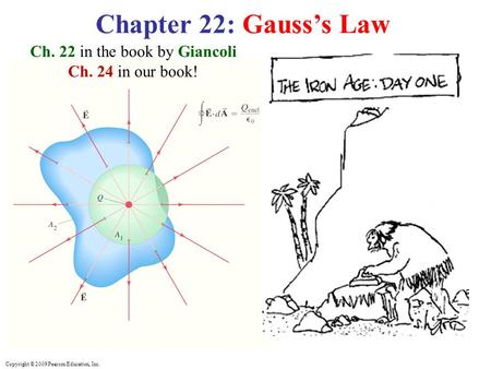 Copyright © 2009 Pearson Education, Inc. Chapter 22: Gauss's Law Ch. 22 in the book by Giancoli Ch. 24 in our book!