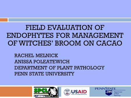 Field evaluation of endophytes for management of Witches' broom on cacao Rachel Melnick Anissa poleatewich Department of Plant pathology Penn State university.