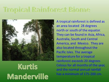 A tropical rainforest is defined as an area located 28 degrees north or south of the equator. They can be found in Asia, Africa, Australia, South and Central.