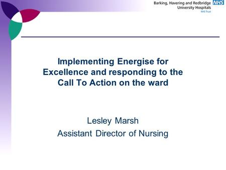 Implementing Energise for Excellence and responding to the Call To Action on the ward Lesley Marsh Assistant Director of Nursing.