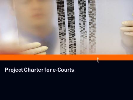 # e # Project Charter for e-Courts t. # e Utility of Project Charter Provide a common point of reference Define the roles of each of the stakeholders.