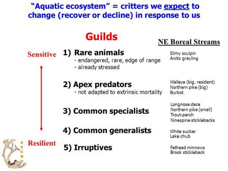 """Aquatic ecosystem"" = critters we expect to change (recover or decline) in response to us 3) Common specialists 1)Rare animals - endangered, rare, edge."