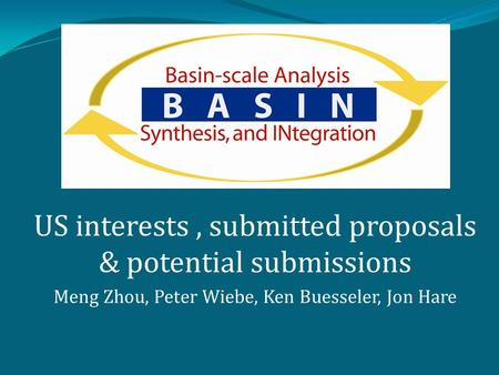US interests, submitted proposals & potential submissions Meng Zhou, Peter Wiebe, Ken Buesseler, Jon Hare.