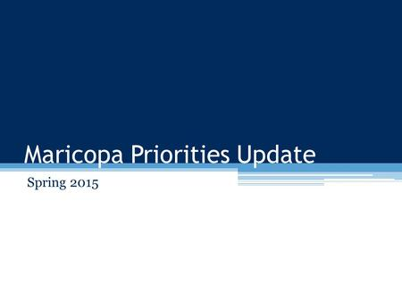 Maricopa Priorities Update Spring 2015. Agenda Overview Strategic Directions Implementation process Categorized Recommendations Preliminary Timeline.