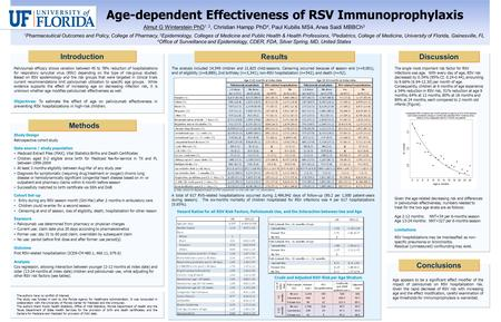 Age appears to be a significant effect modifier of the impact of palivizumab on RSV hospitalization risk. Given the rapid decrease of RSV risk with increasing.