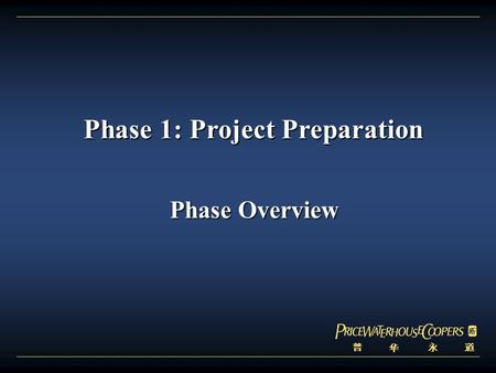 普 华 永 道 Phase 1: Project Preparation Phase 1: Project Preparation Phase Overview Phase Overview.