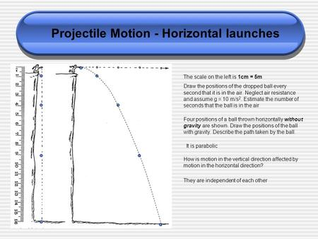 Projectile Motion - Horizontal launches The scale on the left is 1cm = 5m Draw the positions of the dropped ball every second that it is in the air. Neglect.