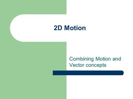 Combining Motion and Vector concepts 2D Motion Moving Motion Forward Velocity, Displacement and Acceleration are VECTORS Vectors have magnitude AND direction.