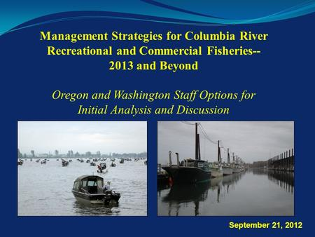 Management Strategies for Columbia River Recreational and Commercial Fisheries-- 2013 and Beyond Oregon and Washington Staff Options for Initial Analysis.